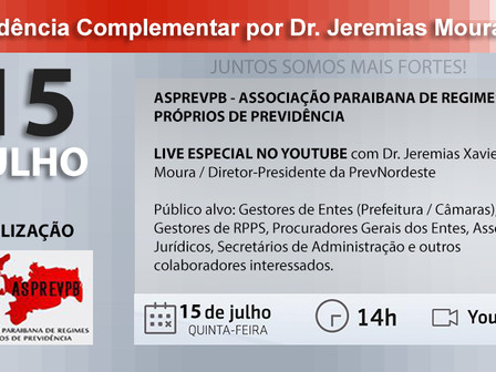 "ASPREVPB promove Live sobre ""Previdência Complementar"" com dr. Jeremias Moura"
