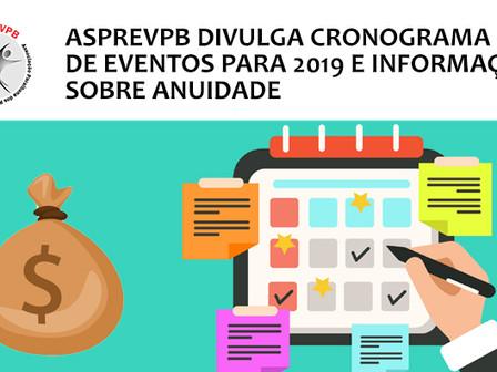 Cronograma de atividades para 2019 e informações sobre anuidade