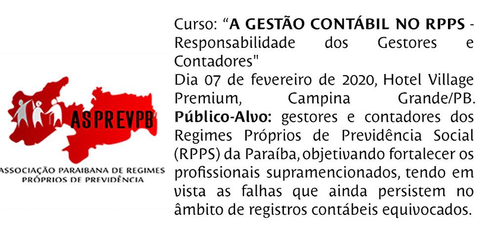 """Curso """"A gestão Contábil no RPPS"""" - responsabilidade dos Gestores e Contadores"""