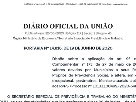 Portaria nº 14.816 dispõe sobre a suspensão de pagamentos aos RPPS