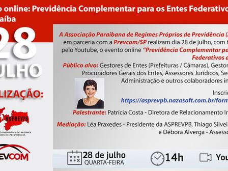 ASPREVPB e Prevcom/SP realizam o evento Previdência Complementar para Entes Federativos da Paraíba