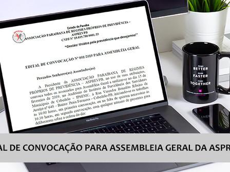 Edital de Convocação para Assembleia Geral da ASPREVPB
