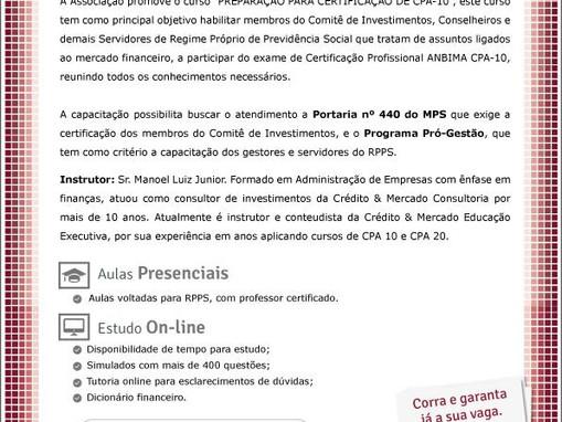 ASPREVPB PROMOVE CURSO DE PREPARAÇÃO PARA CPA-10