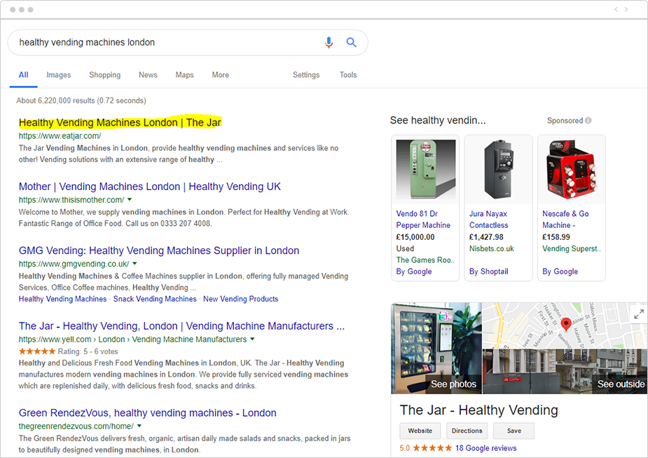 The Jar appearing position one on SERP