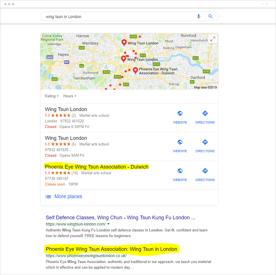 PEWTA appearing in local pack display and position two on SERP