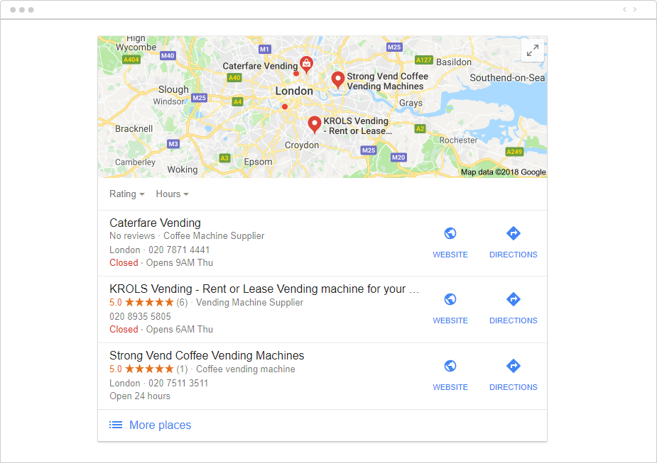 Google Maps listing for The Jar before SEO efforts