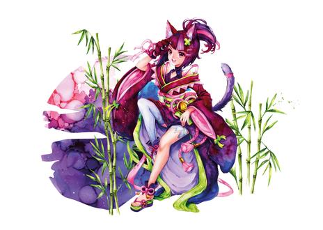 Luma Postkarte mit Ayumi-Motivdruck 4c im Querformat