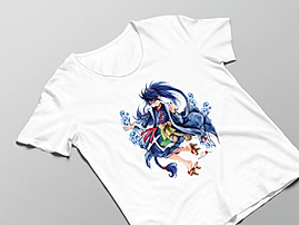 Luma Damen Shirt in weiß mit Tatsuro-Motivdruck in Größe M