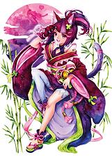 Luma Poster mit Ayumi-Motivdruck in A4 hoch