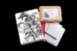 Luma Mixed Skizzen-Set, Luma Designbox Skizze, Luma Klappkarten Marker und Mixed Media, Briefumschläge weiß und rot, Kuretake Fineliner