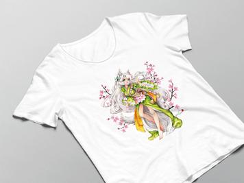 Luma Damen Shirt in weiß mit Kumiko-Motivdruck in Größe M