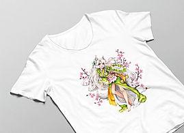 Luma Herren T-Shirt in weiß mit 'Kumiko-Motivdruck in Größe L