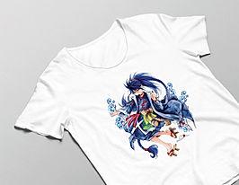 Luma Herren T-Shirt in weiß mit Tatsuro-Motivdruck in Größe L