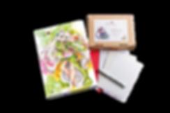 Luma Mixed Media-Set, Luma Designbox Aquarell, Luma Klappkarten Marker und Mixed Media, Briefumschläge weiß und rot, Kuretake Fineliner