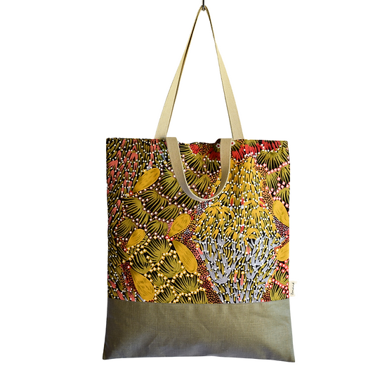 "Tote Carla - ""Bush banana"" & coated linen khaki"