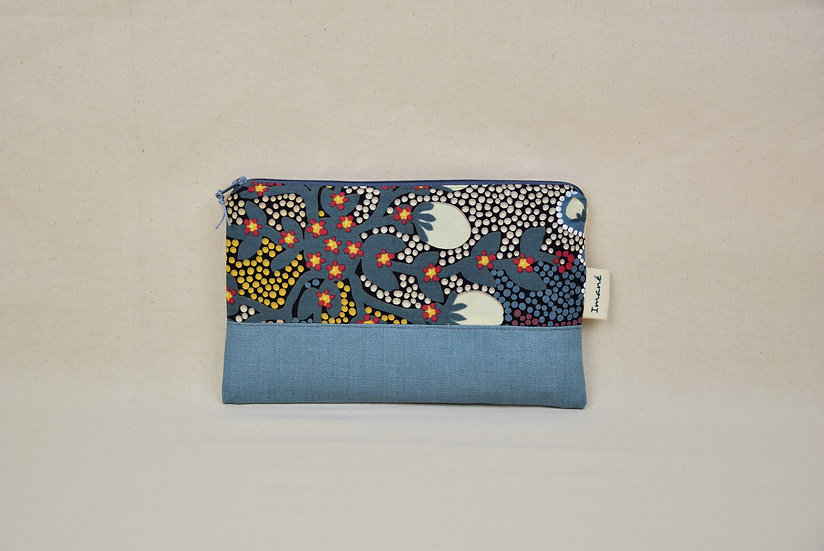 "Clutch Ella - ""Bush sultana & coated linen soft blue"""