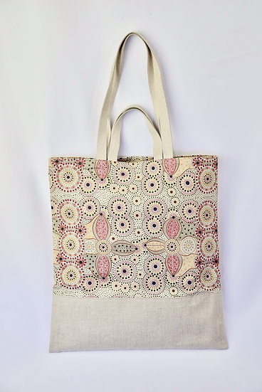 "Tote Carla - ""Spirit place"" & coated linen silver sparkles"