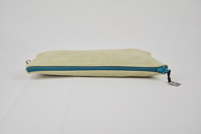 """Clutch Zoe - """"leather silver lining"""" - teal"""