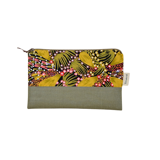 "Clutch Ella - ""Bush banana"" & coated linen khaki"