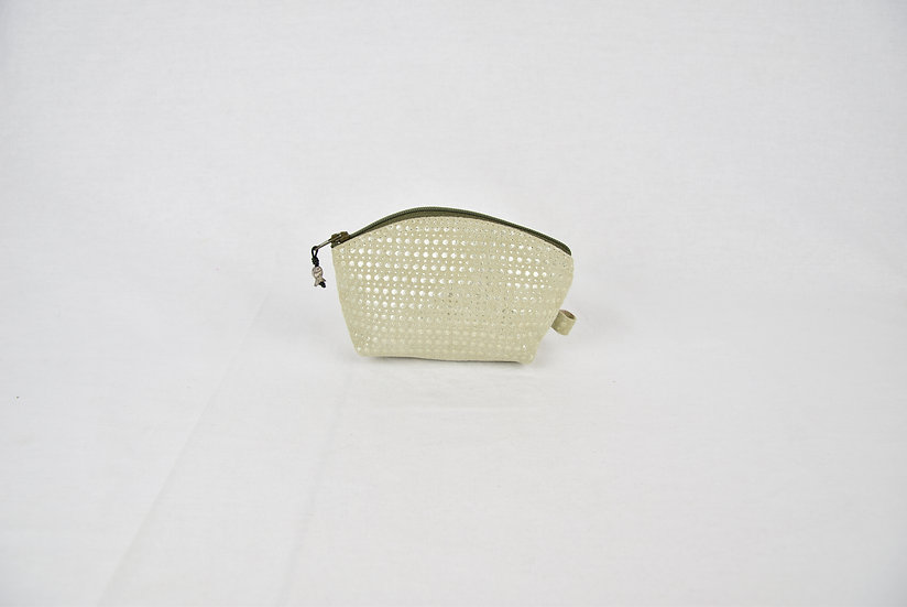"Coin purse - ""leather silver lining"" - kaki"