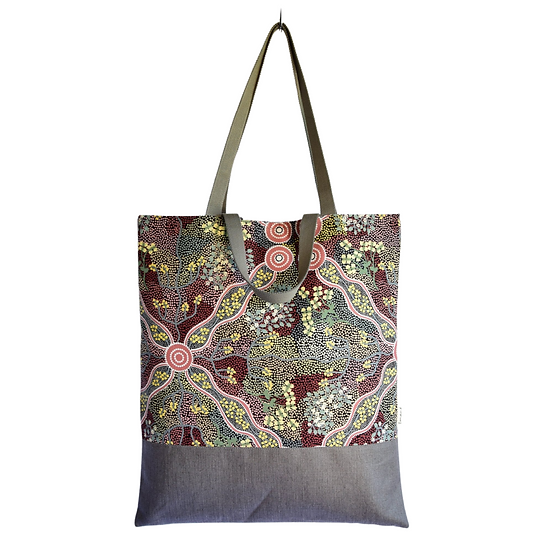 "Tote Carla - ""Bush tomato"" & coated linen charcoal"