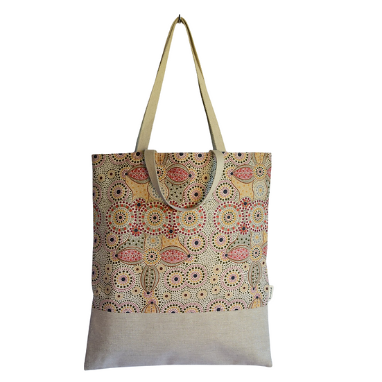 """Tote Carla - """"Spirit place"""" & coated linen silver sparkles"""