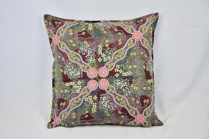 "Cushion cover - ""Bush tomato"" soft green"