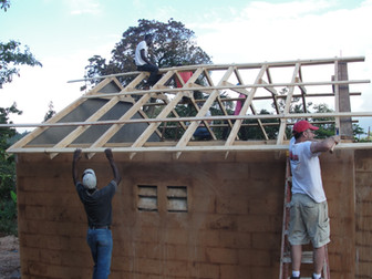 Framing out a roof.
