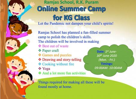 Ramjas School RK Puram Delhi is organizing an Online Summer Camp for KG Class