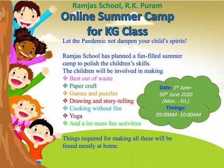 Ramjas School RK Puram Delhi is organizing an Online Summer Camp for KG Class