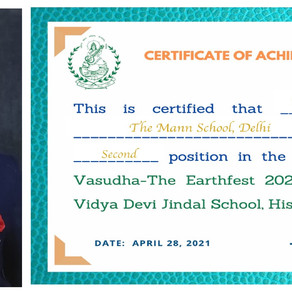 Aayanshika Chugh, Student of The Mann School, secured 2nd position in the 5th edition of Vasudha