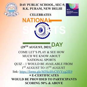 DAV Public School R.K.Puram is organising online quiz on sports celebrating the month of National...