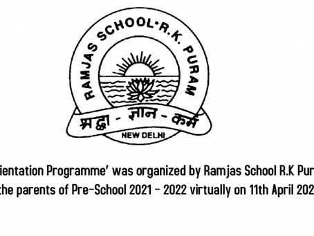An 'Orientation Programme' was organized by Ramjas School R.K Puram for the parents of Pre–School