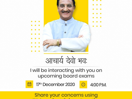 Union Minister of Education, Dr.Ramesh Pokhriyal will address the queries of teachers on upcoming...