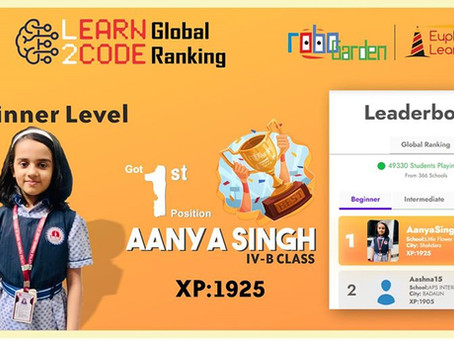 Aanya Singh of Little Flowers Sr Sec School, Shivaji park has secured 1st position in Learn2Code