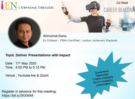 Abhishek Datta delivers 4th Day YEN Learning Capsule – How to deliver a killer presentation