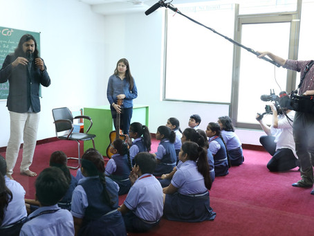 Ricky Kej, Grammy award winner music composer and producer visited Venkateshwar Global School Rohini