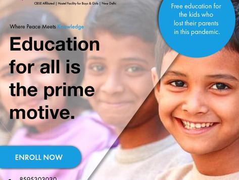 Shanti Gyan Boarding School has taken the initiative; free education for the kids; Pandemic Victims