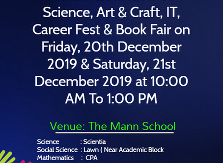 The Mann School is Organizing Annual Exhibition of Science, Art & Craft,IT, Career Fest & Book Fair