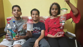 Viresh, a student of class IV, prepared a 'Table Lamp' at home, using a non-working steamer