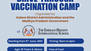 Drive Through Vaccination Camp at the Emerald Heights International School Indore
