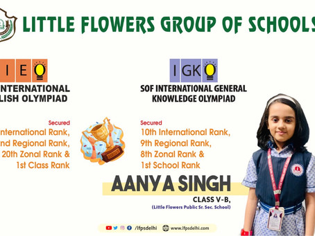 Aanya Singh of Class V from Little Flowers Public Sr Sec School has achieved 1st Class rank and 10th