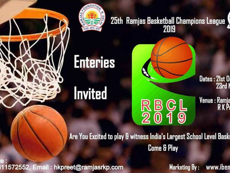 25th Ramjas Basketball Champions League 2019 All India is going to be started from 21st October 2019