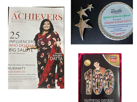 "Ms Sanjana Bakshi Datta under 100 inspiring stories of India in book titled ""100 Inspiring Indians"""