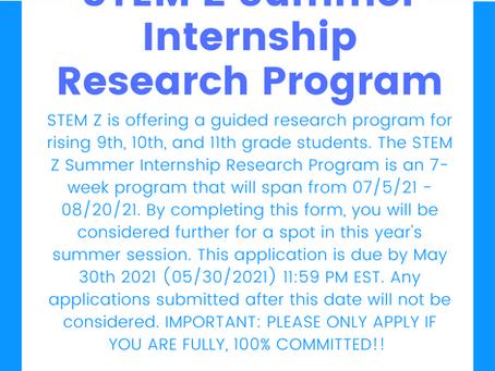Stem Z Summer Internship Research Program
