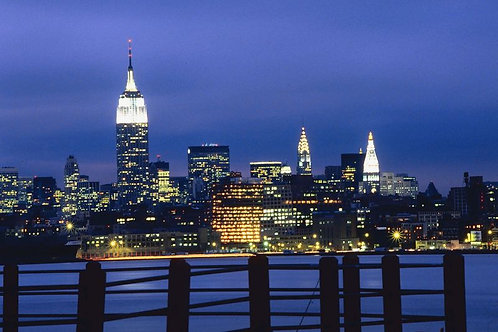 Manhattan Skyline and Empire State Building at Night