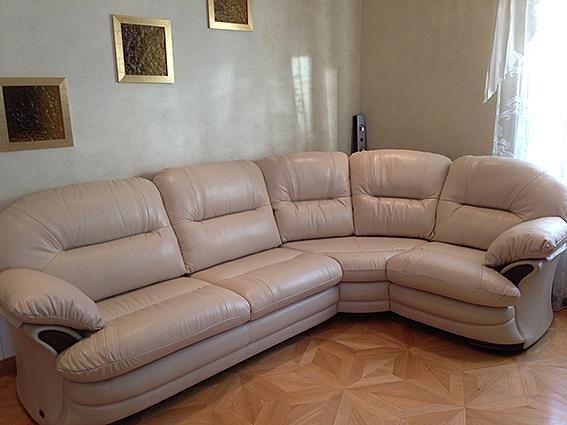 Перетяжка углового дивана кожа после