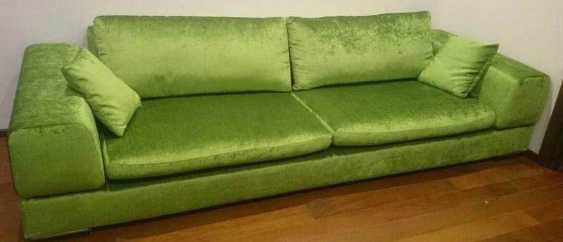 Перетяжка диван велюр после