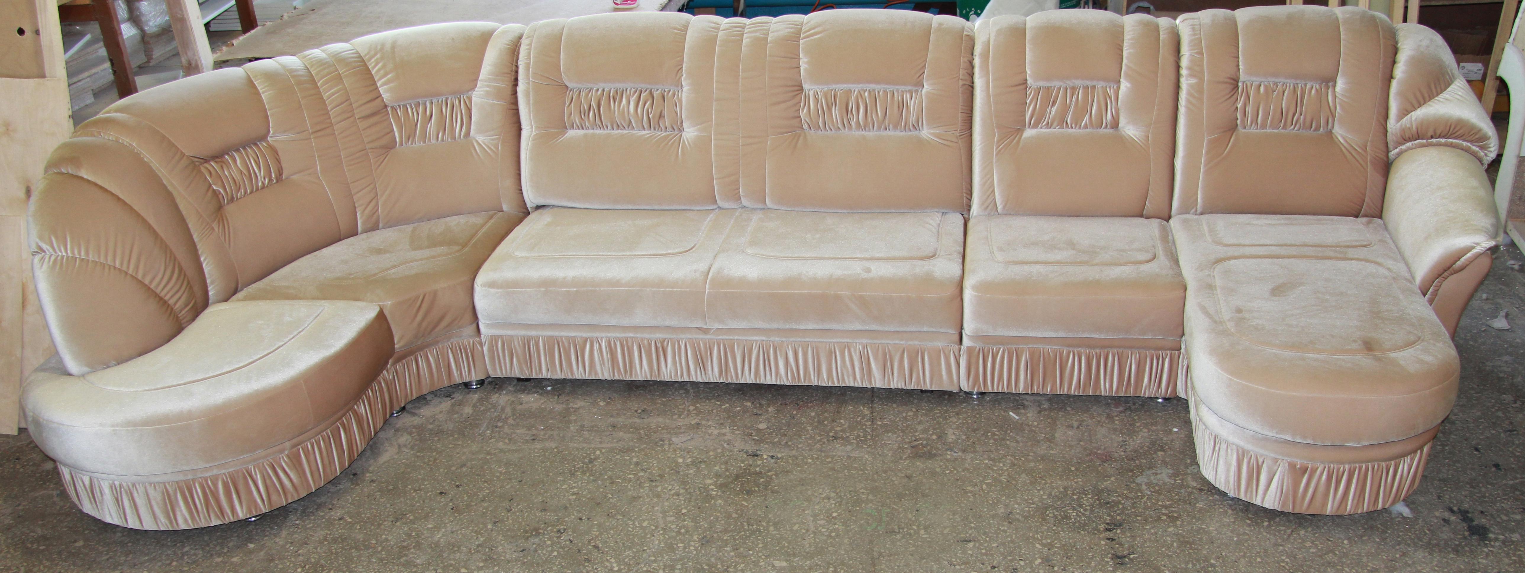 Перетяжка угловой диван после