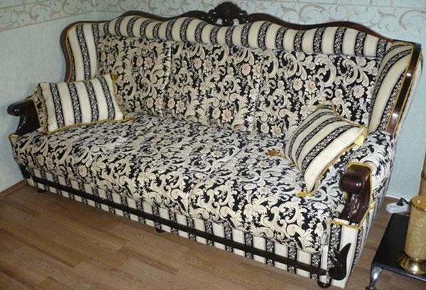 Перетяжка диван шенилл после